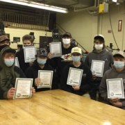 Seymour High School woodworking students
