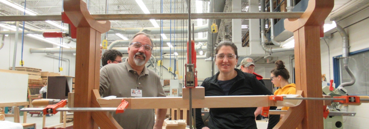 Mark Lorge of Fox Valley Technical College with Staci Sievert of Seymour High School